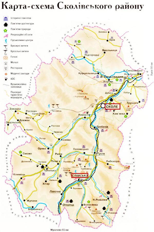 карта Львовской области,
